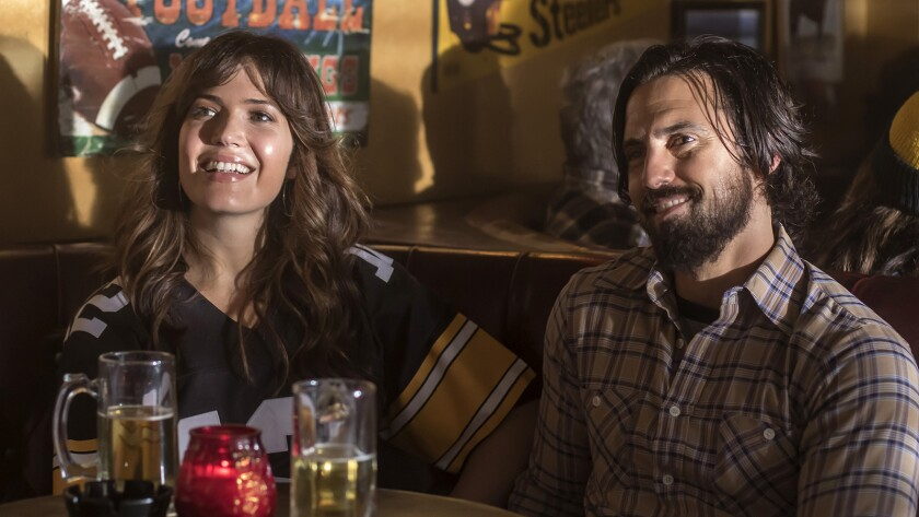 "Mandy Moore and Milo Ventimiglia star in NBC's ""This Is Us."" The series earned nine Emmy nominations, including for best drama, Moore and Ventimiglia."