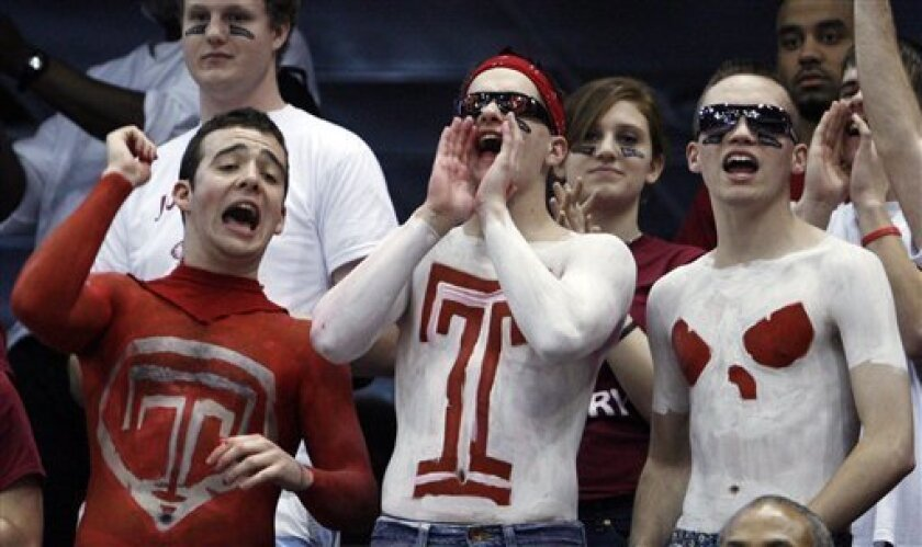 Temple fans cheer on their team during an NCAA first-round college basketball game against Cornell in Jacksonville, Fla., Friday, March 19, 2010.  (AP Photo/Wilfredo Lee)