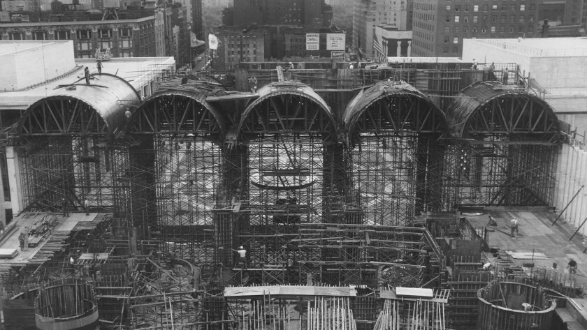 The new Metropolitan Opera House at Lincoln Center under construction in May 1964.