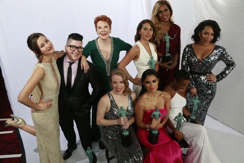 """Winners for outstanding performance by an ensemble in a comedy series, cast members of """"Orange Is the New Black"""" in the Los Angeles Times photo booth at the 22nd Annual Screen Actors Guild Awards in January."""