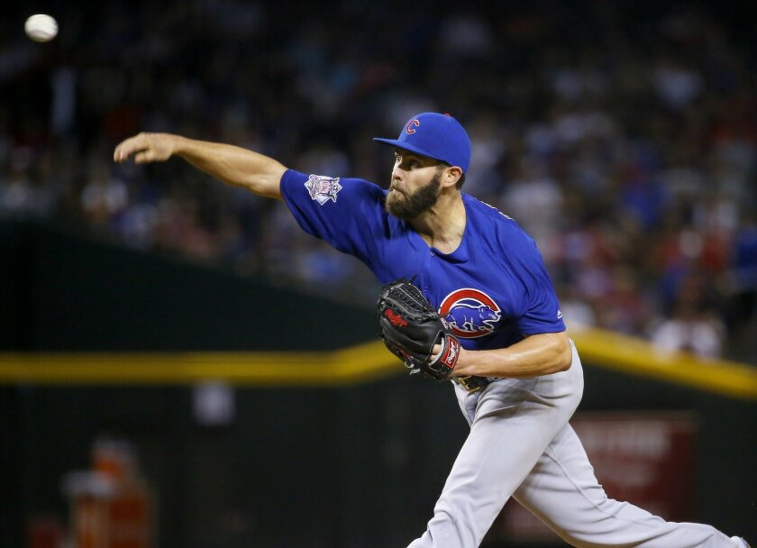 Chicago Cubs Jake Arrieta throws against the Arizona Diamondbacks during the seventh inning of a baseball game, Sunday, April 10, 2016, in Phoenix. (AP Photo/Matt York)