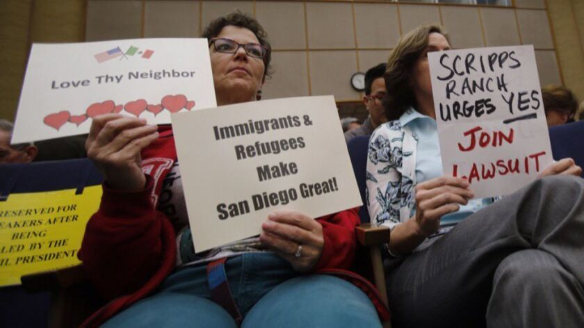 The San Diego City Council took public comment before voting to join the legal battle against President Trump's executive order prohibiting refugees from entering the U.S.