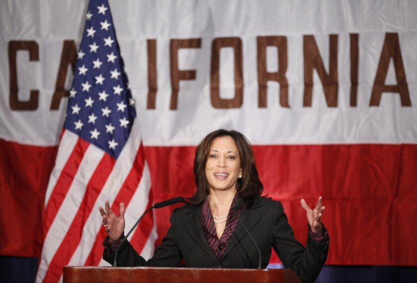 FILE - In this Nov. 30, 2010 file photo, California Attorney General KamalaHarris gives her first news conference in Los Angeles. California Sen. Barbara Boxer announced Thursday, Jan. 8, 2015, that she will not seek re-election in 2016. An adviser with knowledge of her plans says California Attor