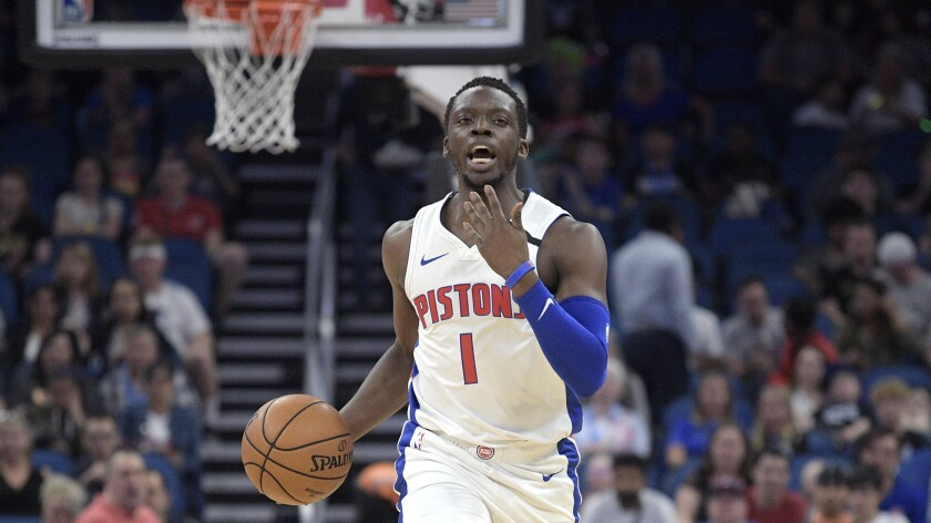 Detroit Pistons guard Reggie Jackson sets up a play during the first half against the Orlando Magic on Feb. 12 in Orlando, Fla.