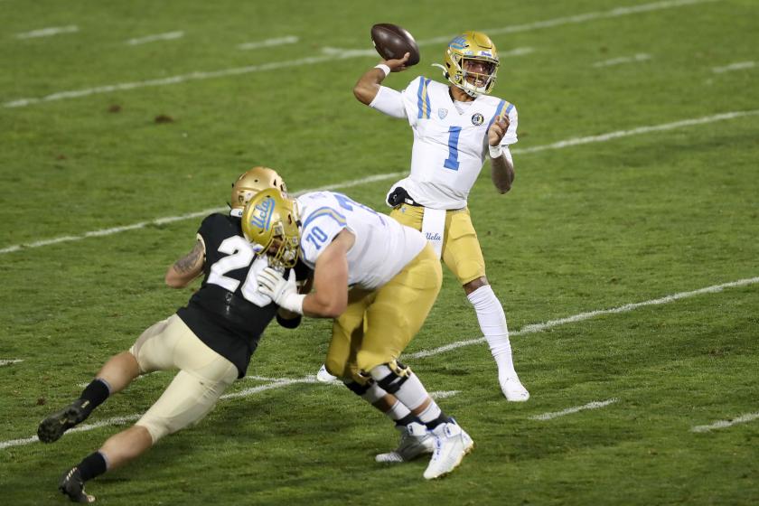 UCLA quarterback Dorian Thompson-Robinson looks to pass Nov. 7 at Colorado.