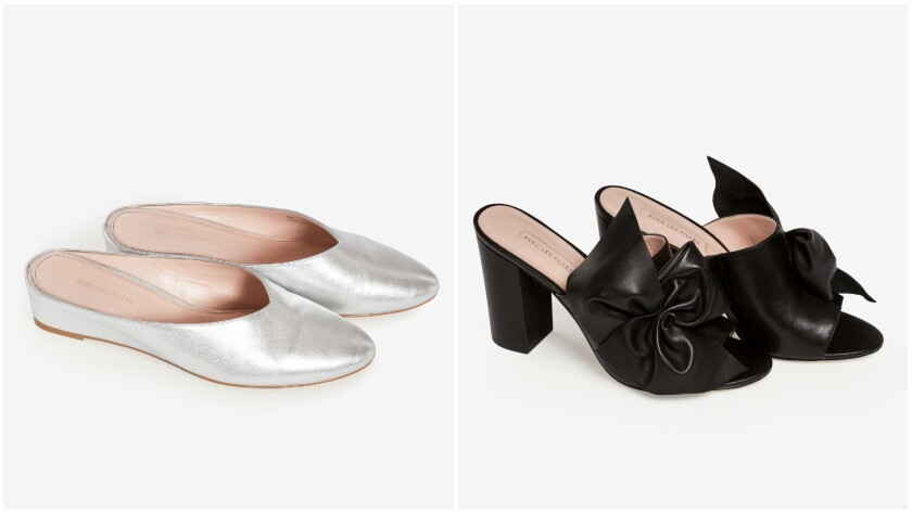 A look at Avec les Filles' metallic leather Bella wedge mules, $148, and Maria block-heel bow mule, $178.