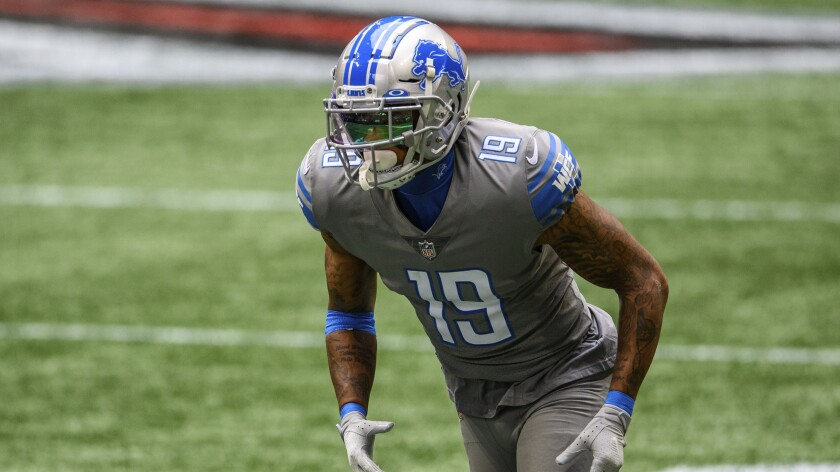 Detroit Lions wide receiver Kenny Golladay gets set for a play against the Atlanta Falcons.