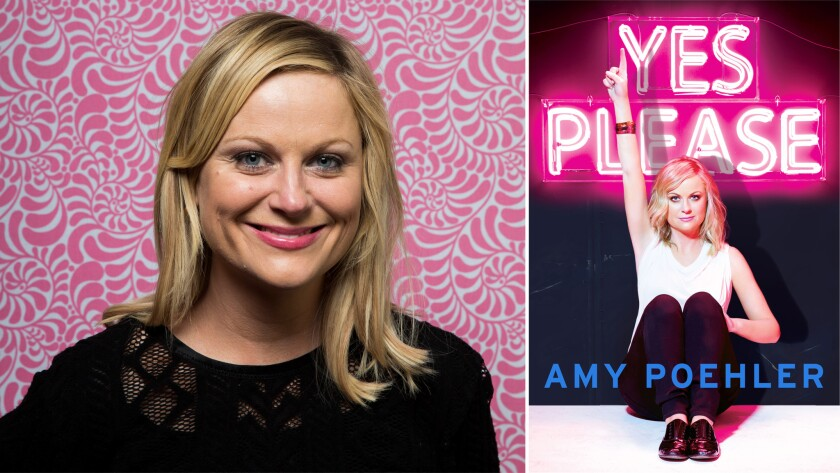 """Author Amy Poehler and the cover of her book """"Yes Please."""""""