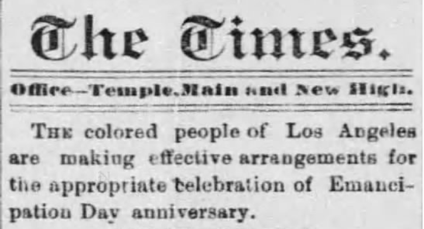 Blurb for Emancipation Day festivities in Nov. 14, 1885 edition of Los Angeles Times