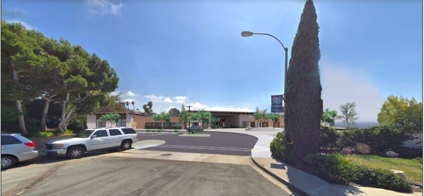 A rendering of the view of the new Del Mar Heights School in the DMUSD's environmental document.