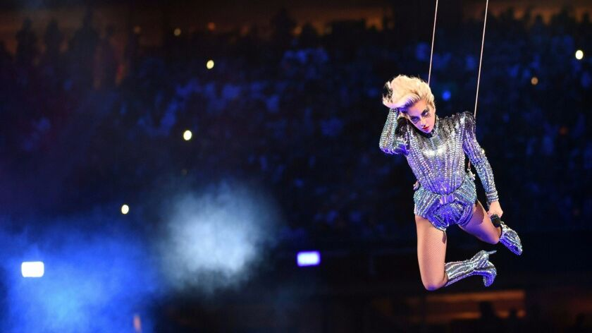 Singer Lady Gaga performs during the halftime show of Super Bowl LI at NGR Stadium in Houston.