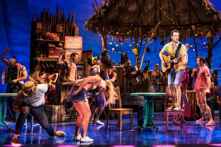 """A scene from the La Jolla Playhouse production of """"Escape to Margaritaville."""" The theater will host an online chat with the musical's set designer, Walt Spangler, on Friday."""