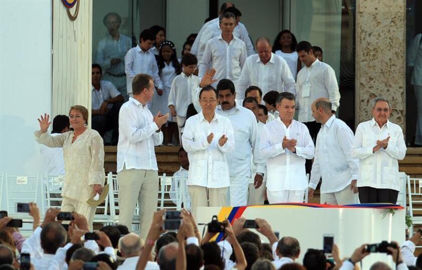 El secretario general de la ONU, Ban Ki-moon, dio hoy la bienvenida al nuevo acuerdo de paz en Colombia refrendado por los legisladores del país y reiteró el apoyo de la organización al fin del conflicto. EFE/ARCHIVO
