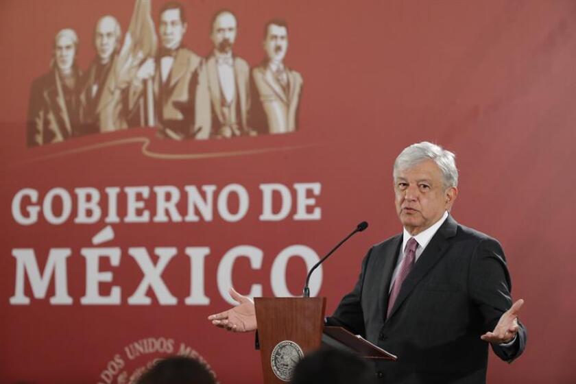 El presidente de México, Andrés Manuel López Obrador, ofrece na rueda de prensa en el Palacio Nacional, en Ciudad de México (México). EFE/Archivo
