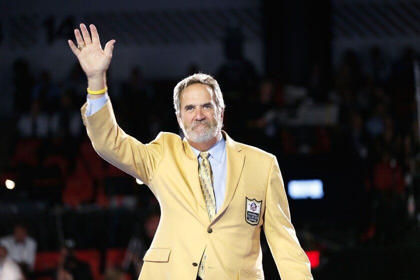 Dan Fouts, at the 2014 Pro Football Hall of Fame Gold Jacket Dinner in Canton, Ohio, is the son of Bob Fouts, a Bay Area sports announcer who died July 9.
