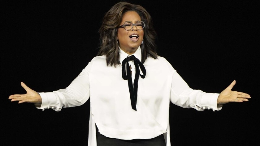 Oprah Winfrey speaks at the Steve Jobs Theater during an event to announce new Apple products Monday