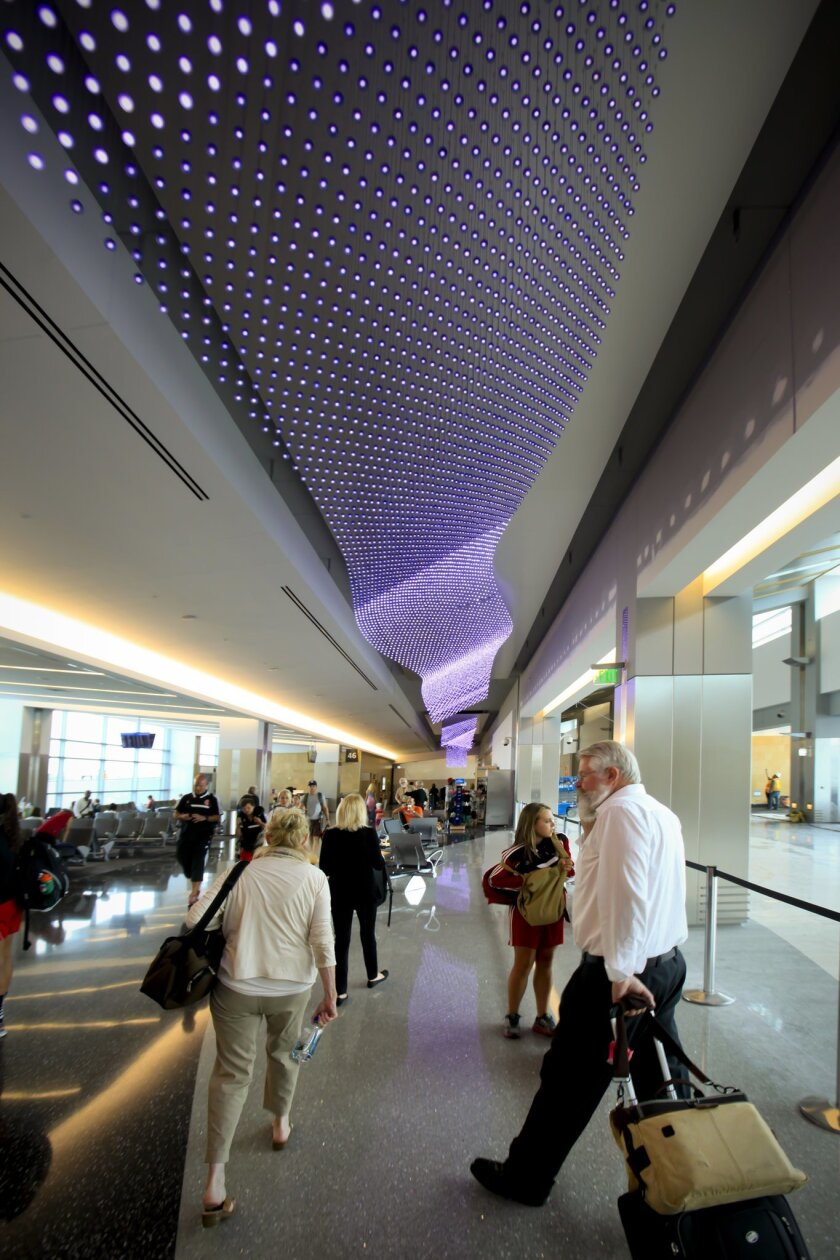 """The Journeys"" by Jim Campbell, using 37,000 LED lights in Terminal 2 West of San Diego International Airport."