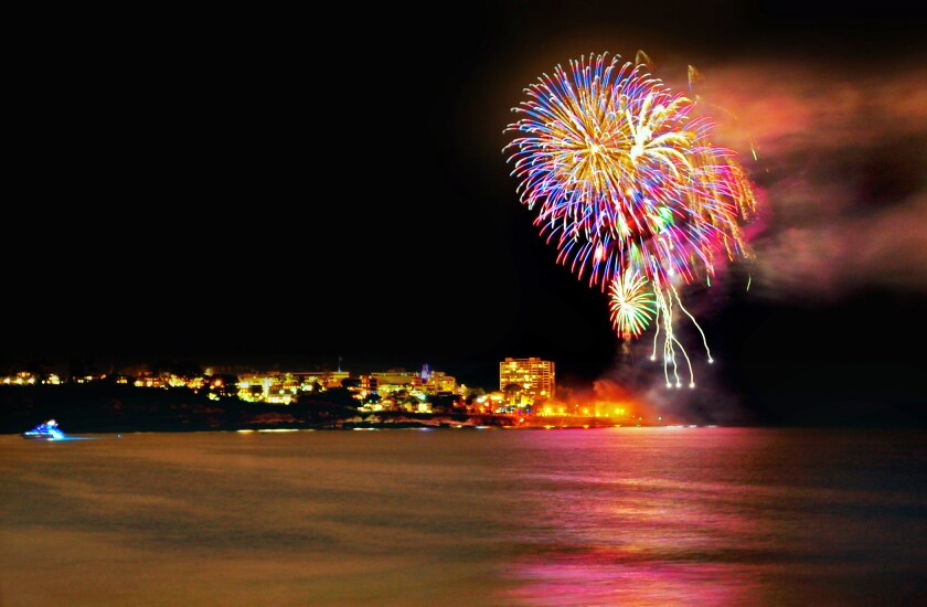 Fireworks explode over La Jolla Cove from a previous Independence Day celebration and will light up the sky again after a two-year absence.