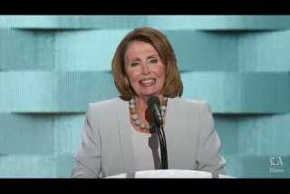 House Minority Leader Nancy Pelosi speaks at the Democratic National Convention