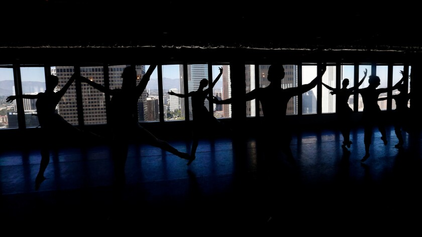 The American Contemporary Ballet rehearsal room: The 34th floor of a downtown Los Angeles high-rise.