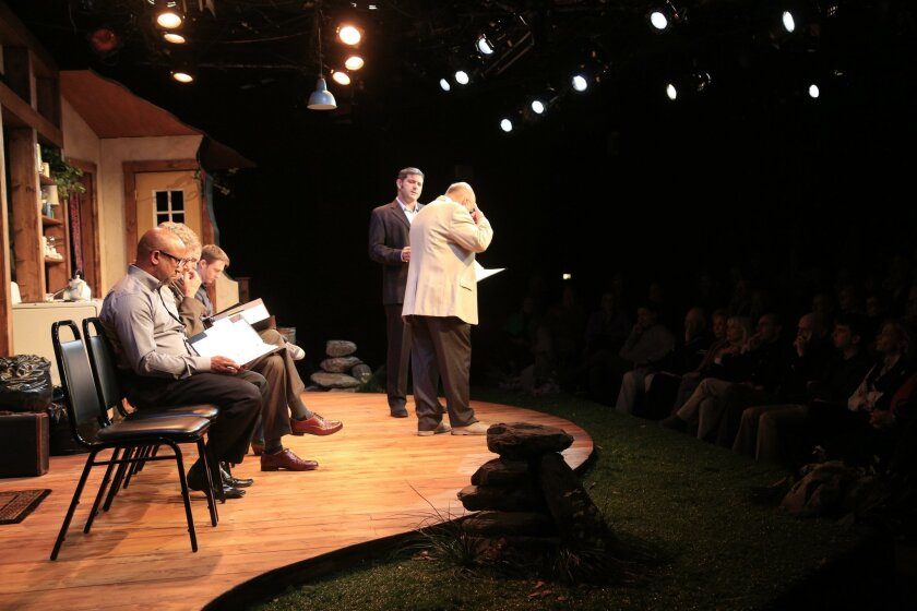 """Actors Patrick J. Duffy, left, and Brian Salmon, seen from behind, perform in """"The Molester?,"""" one of two short plays by retired U.S. District Court Judge H. Lee Sarokin, presented Monday night at North Coast Repertory Theatre in Solana Beach."""