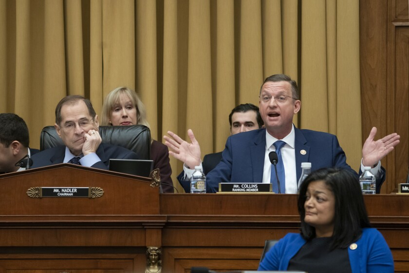 Rep. Doug Collins, R-Georgia, the top Republican on the House Judiciary Committee, objects to Chairman Jerrold Nadler, D-N.Y., left, summoning Acting Attorney General Matthew Whitaker before the Democrat-controlled panel on Capitol Hill on Feb. 8, 2019. Rep. Pramila Jayapal, D-Wash., listens at lower right.