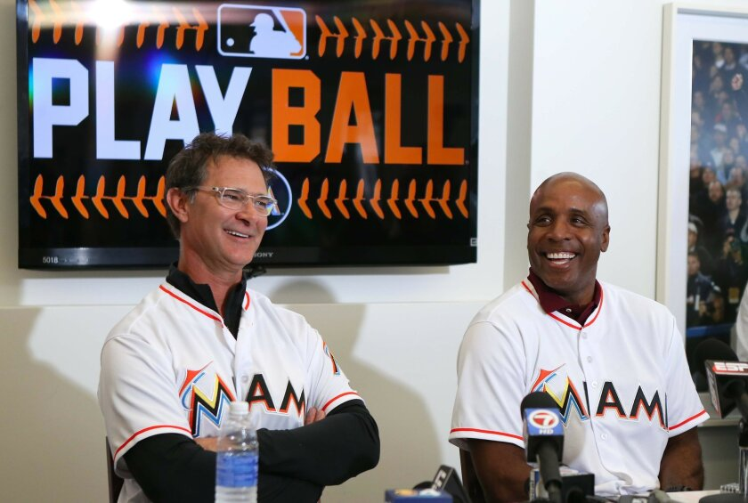 Miami Marlins manager Don Mattingly,left, and hitting coach Barry Bond speaking with the media during the baseball team's FanFest at Marlins Park on Saturday, Feb. 20, 2016 in Miami. (David Santiago/El Nuevo Herald via AP) MAGS OUT; MANDATORY CREDIT
