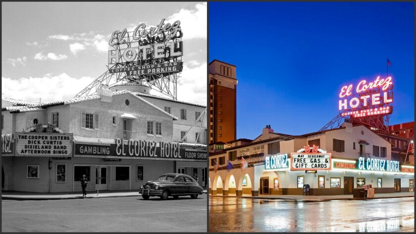 Located just a block east of Las Vegas Boulevard in downtown Las Vegas, the El Cortez has welcomed guests for 75 years. The hotel-casino's exterior has changed little over the decades.