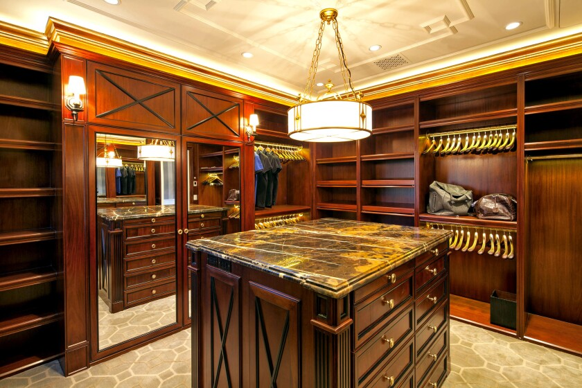 Mahogany panelling in the men's closet of a Bel-Air home.