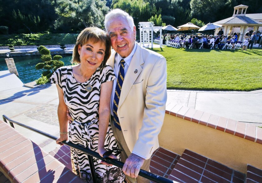 """Cathie and Al Ransom are philanthropists who own wedding event venues in Fallbrook and Oceanside. On Valentine's Day, they hosted (for the third year in a row) a free dream wedding for a """"wounded warrior"""". This year for Jorge Ortiz who lost both legs to an IED blast in Afghanistan. Photo by Don Boomer"""