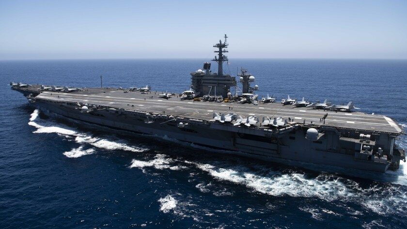 PACIFIC OCEAN - JULY 15: In this handout released by the U.S. Navy, The aircraft carrier USS Theodore Roosevelt (CVN 71) transits the Pacific Ocean. Theodore Roosevelt is conducting routine operations in the Eastern Pacific Ocean. (Photo by U.S. Navy via Getty Images)