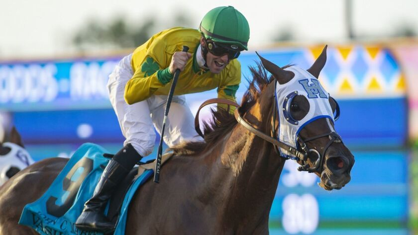 Vasilika and jockey Flavien Prat win the Grade II, $200,000 John C. Mabee Stakes on Sept. 1 at Del Mar.