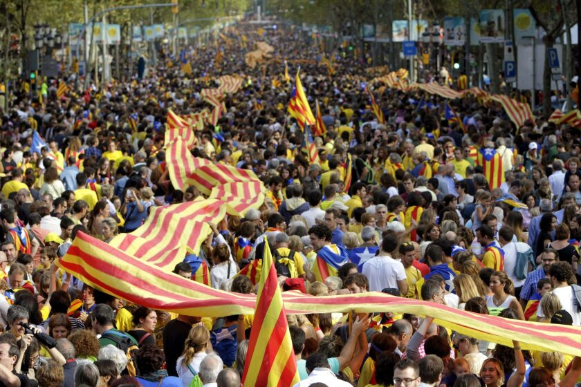 A reported 1 million people thronged Barcelona and stretched out into a human chain extending 250 miles through the Catalonia region in a demonstration of support for independence from Spain.