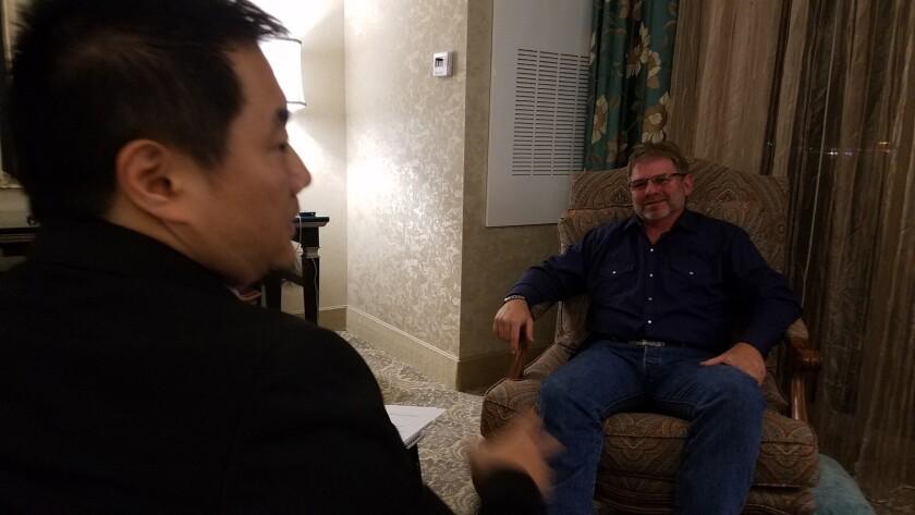 "Charlie Minn, left, interviews Randy Rau in the documentary ""A Nightmare in Las Vegas."""