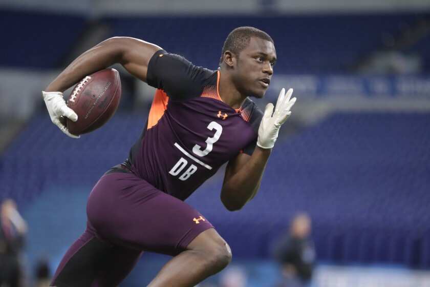 Former Georgia cornerback Deandre Baker, the Jim Thorpe award winner — the nation's top defensive back — hasn't allowed a touchdown since 2017. He's a likely first-rounder in the upcoming NFL Draft in Nashville. (AP Photo/Michael Conroy)