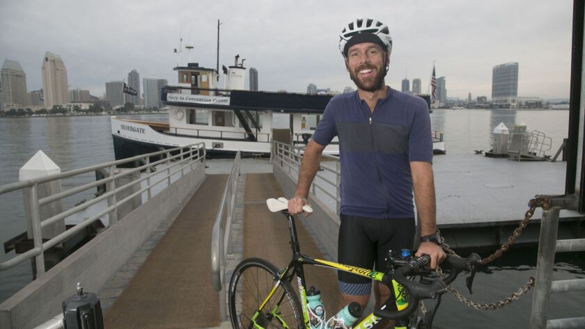 Andrew Stout completed a cross-county bicycle trip last year from Maine to California to honor his father, who had always wanted to do the trip but died from brain cancer.