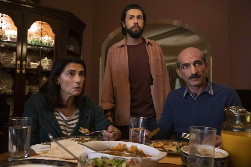 "Hiam Abbass, left, Ramy Youssef and Amr Waked in ""Ramy."""