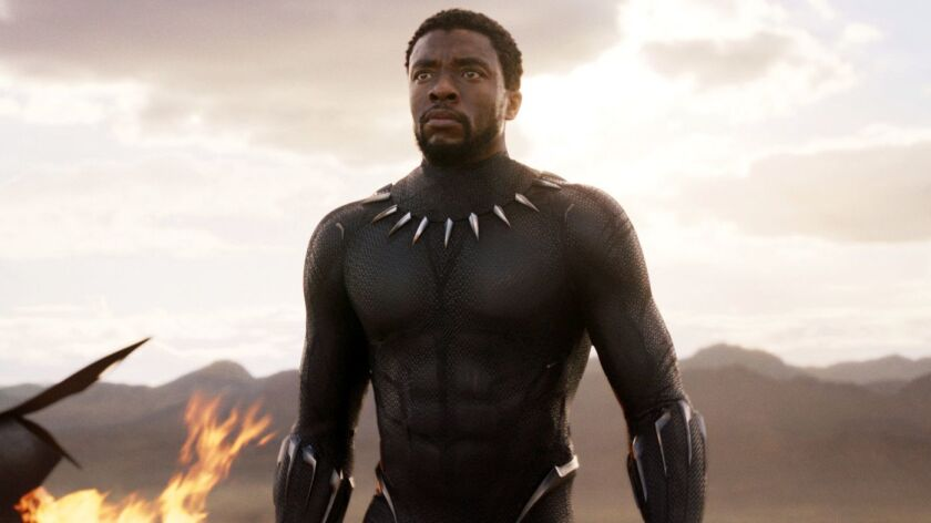 """This image released by Disney and Marvel Studios' shows Chadwick Boseman in a scene from """"Black Pant"""