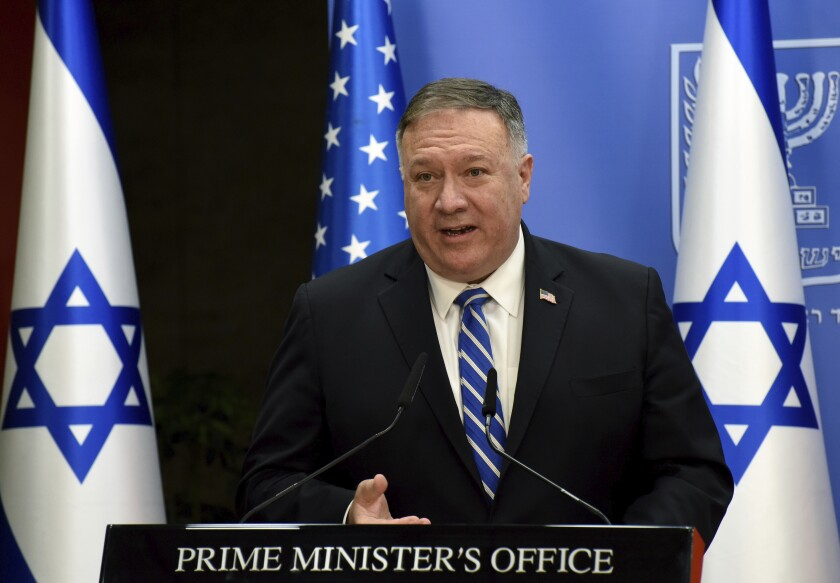 Secretary of State Michael R. Pompeo speaks after a meeting with the Israeli prime minister in Jerusalem on Monday.