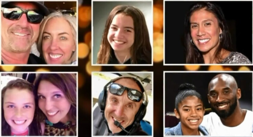 The nine victims of Sunday's helicopter crash, clockwise from upper left: John and Keri Altobelli, their daughter Alyssa Altobelli, Christina Mauser, Kobe Bryant and his daughter Gianna Bryant, Ara Zobayan, and Sarah Chester and her daughter Payton Chester.