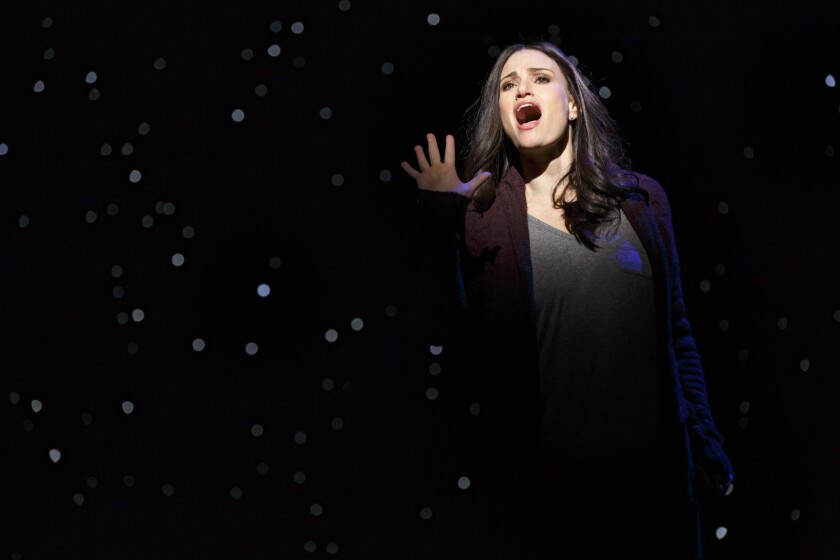 "Idina Menzel's singing is memorable, even if ""If/Then's"" songs aren't. She's seen here in the Broadway production of the show."