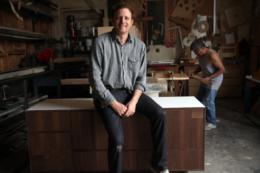 Furniture designer Reeve Schley, photographed in his Pico-Union workshop, has launched an online store under the name Seed Furniture.
