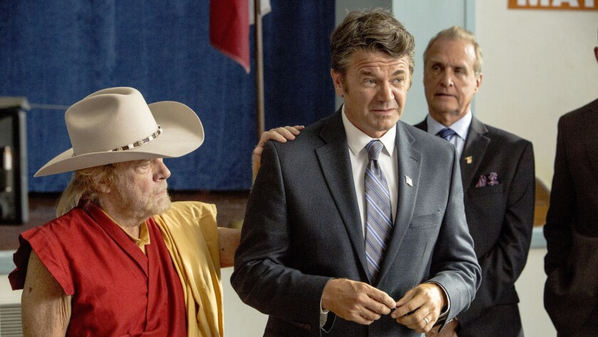 """Kevin Conway, left, and John Michael Higgins, center, in the movie """"Is That a Gun in Your Pocket?"""""""