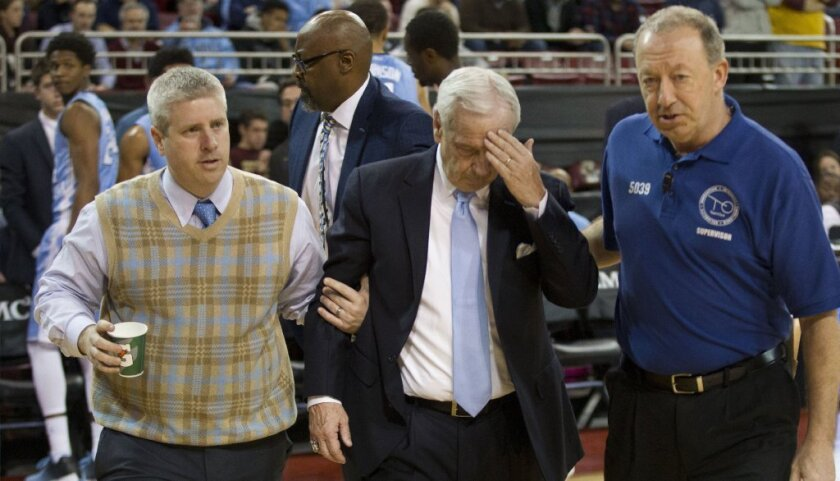 North Carolina Coach Roy Williams doing OK after collapsing on sideline
