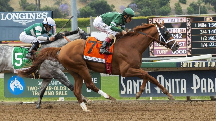 Vino Rosso and jockey John Velazquez outgame Gift Box with jockey Joel Rosario for victory in the Gr
