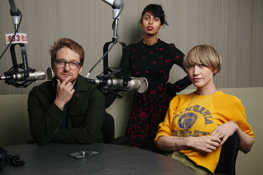 """PASADENA, CALIF. - MARCH 19: KPCC's """"Big One"""" podcast {prns} pose for a portrait in a studio at KPCC"""