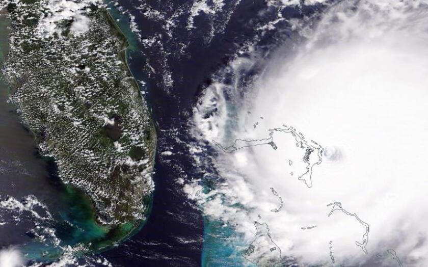 A handout photo provided by NASA on 02 September 2019 shows Hurricane Dorian over the Bahamas, 01 September 2019. Hurricane Dorian has made landfall in the Bahamas, causing 'unprecedented' devastation, according to Prime Minister Hubert Minnis. (Estados Unidos) EFE/EPA/NASA / HANDOUT HANDOUT EDITORIAL USE ONLY/NO SALES