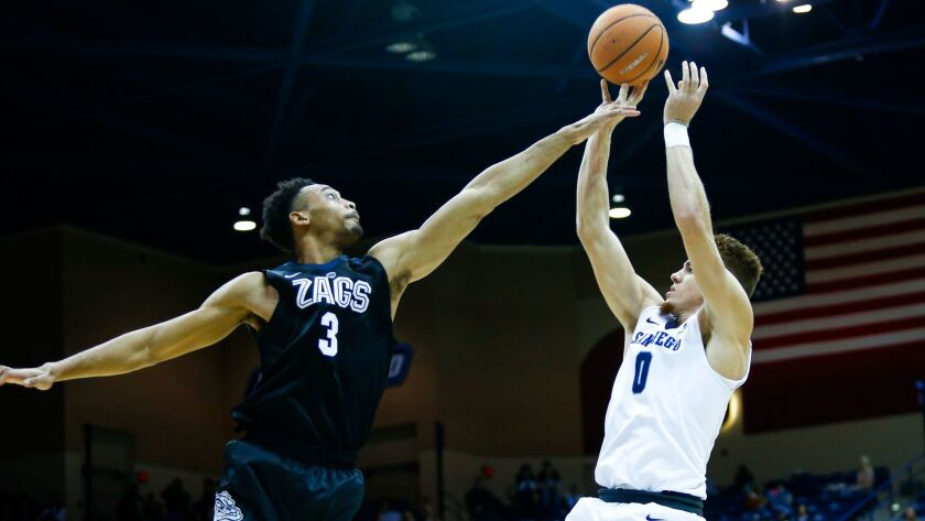 USD's Isaiah Piniero shoots under coverage from Gonzaga's Johnathan Williams in the second half.