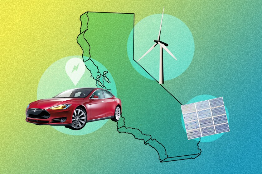 Illustration of a Tesla, a wind turbine and a solar panel overlayed a vector state of California.