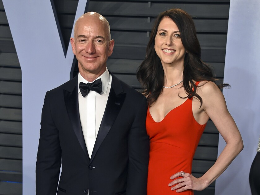 Jeff and MacKenzie Bezos announced their divorce as the National Enquirer published a story about his affair with former TV personality Lauren Sanchez last year.